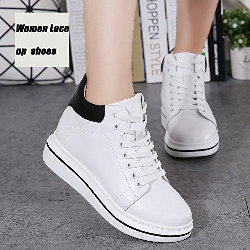 ... Stq Donne Scarpe Stringate In Pelle Alta Moda Casual Sneakers Studente  Leggero Bianco 299c85c0b58