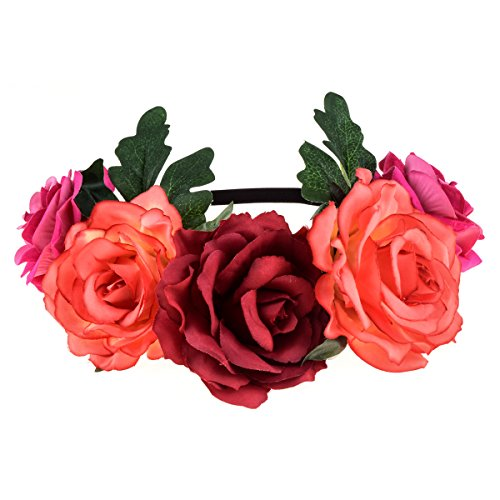 DreamLily Women's Hawaiian Stretch Rose Flower Headband Floral Crown for Garland Party BC12 (Day of the Dead Crown)]()