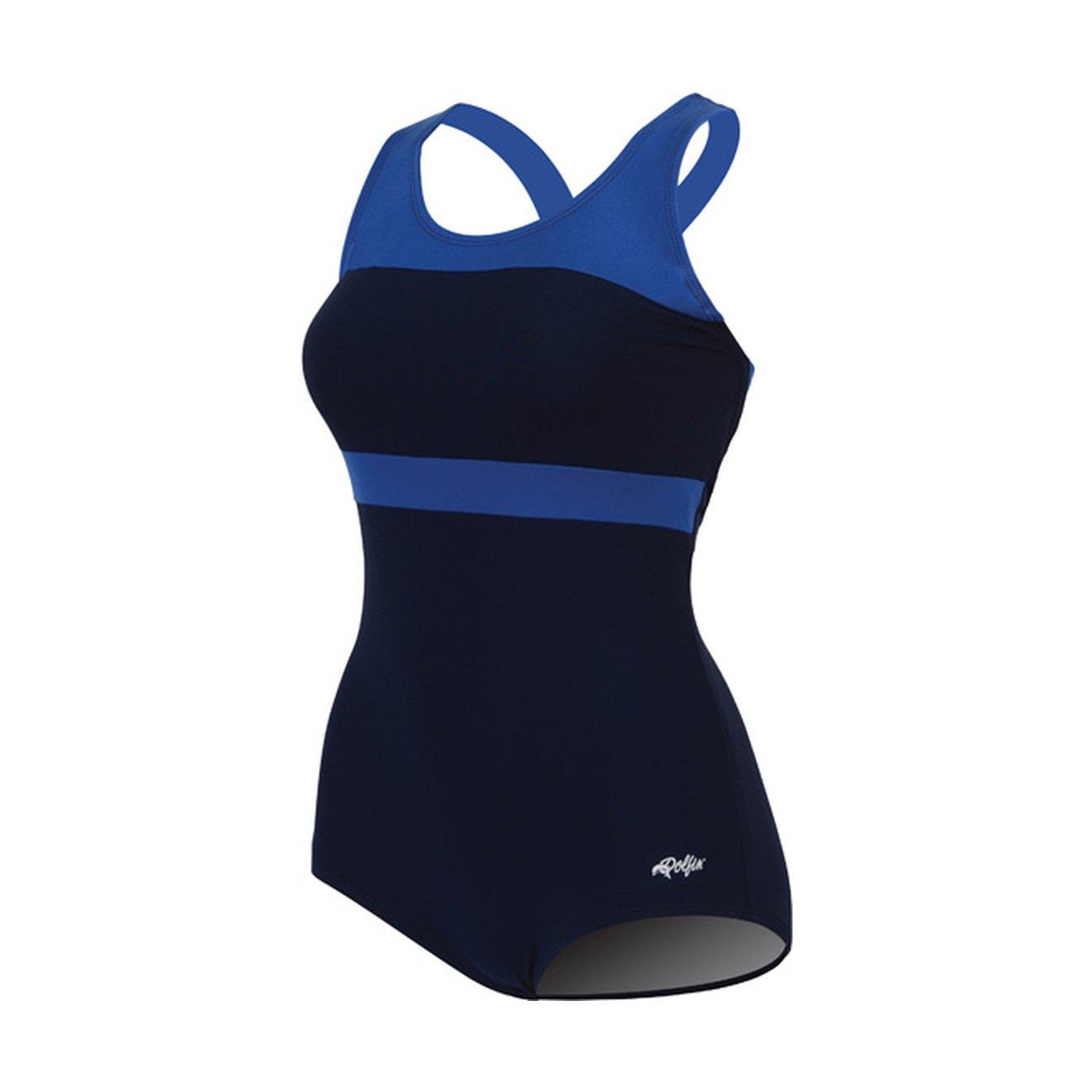 Dolfin Color-Block Conservative Lap Suit Womens Navy/Royal Size 22 by Dolfin