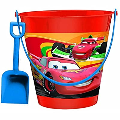 "AmscanDisney Cars 2 Birthday Party Pail And Shovel Favor, 7 1/4"", Red/Blue: Toys & Games"