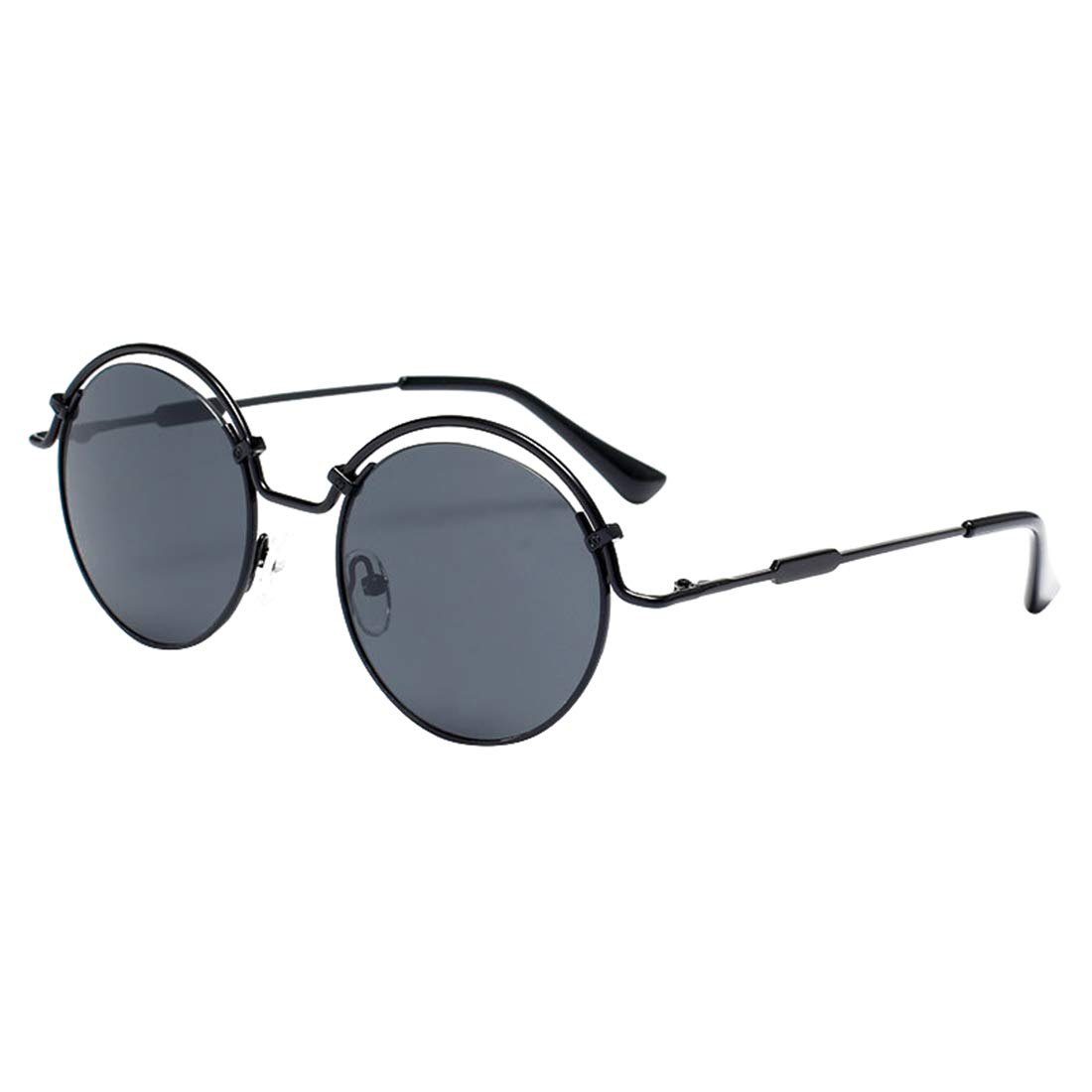 Personality Round colord Lens Lady's UV Predection Sunglasses for Women. (color   Black)