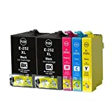 YDINK 5 Pack ( 2BK 1C 1M 1Y ) Ink Cartridge for Epson T252XL T252XL120 T252XL220 T252XL320 T252XL420 Fit WorkForce 3620 3640 7110 7610 7620