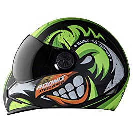Steelbird Angry Bird 7Wings Full Face Graphic Helmet (Medium 580 MM, Matt Black/Green Helmet Fitted with Clear Visor and…