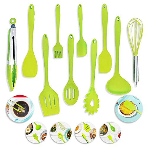 Mother's Day Gift Kitchen Utensil Set,10-Pieces Green silicone Cooking Utensils- Spatulas, Serving Tong,spoon, pasta server,whisk,ladle,strainers,oil brush,egg beater, turner (Green Ladle)
