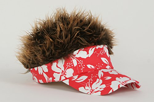 Flair Hair Brown Frosted Hair Visor, Red ()