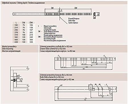 Universal Metal Drawer Runners Groove Ball Bearing Height Length 27mm 250mm