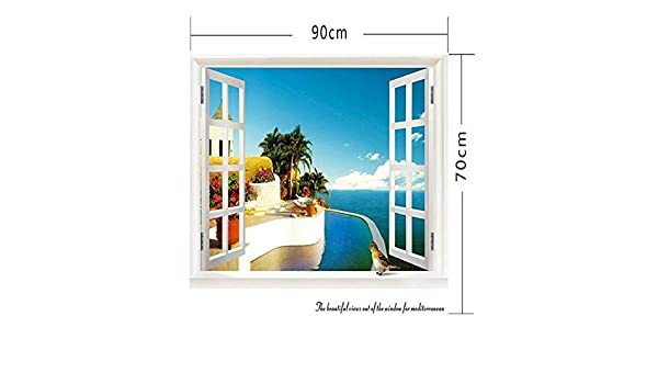 Amazon.com: Chitop 3D Removable Beach Sea - 3D Window Scenery Wall Sticker - Home Decor Decals Mural Waterproof Art Wall Paper Poster (822Y) (70x90cm): Home ...
