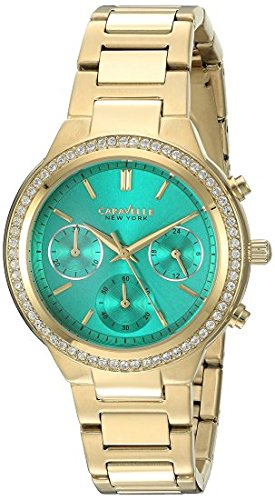 (Caravelle New York Women's 44L215 Swarovski Crystal  Gold Tone Watch )
