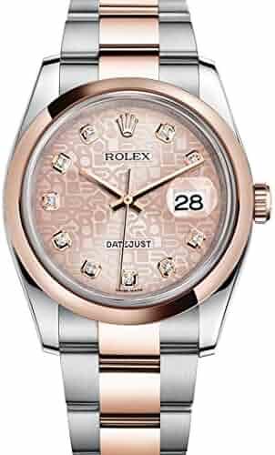 Rolex Datejust 36 Steel Rose Gold Watch Pink Jubilee Diamond Dial 116201