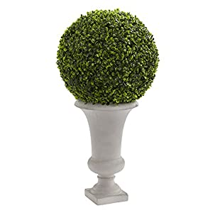 "Nearly Natural Boxwood Ball Topiary Artificial Plant in Urn 28"" 112"