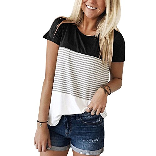 Aichatan Konater Womens Short Sleeve T Shirts Round Neck Stripe Cotton Shirts Casual Tops Tees Black L