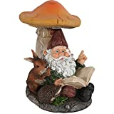 Sunnydaze Bernard The Bookworm Garden Gnome with Mushroom and Solar Light, Outdoor Lawn Statue, 16 Inch Tall Review
