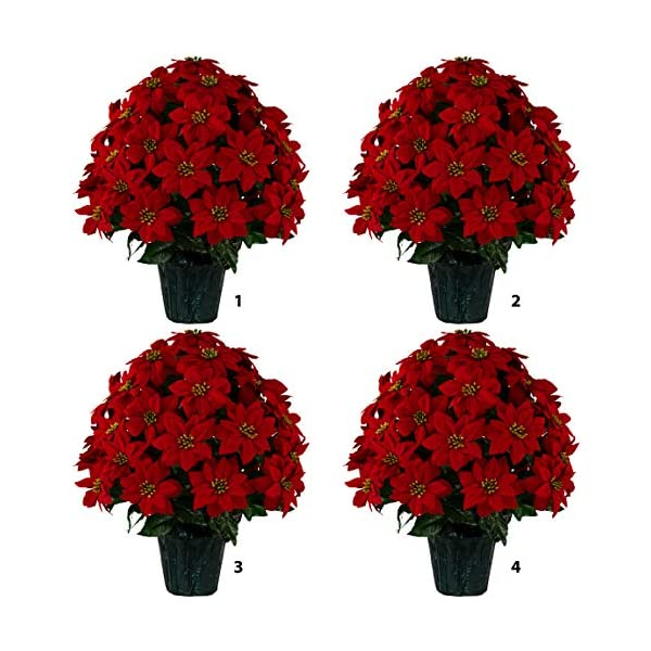 Sympathy Silks Christmas Memorial Four Large Artificial Red Poinsettia Weighted Pot Bouquet Decoration – Height 24″-26″ – Artificial Greenery – Fade Resistant