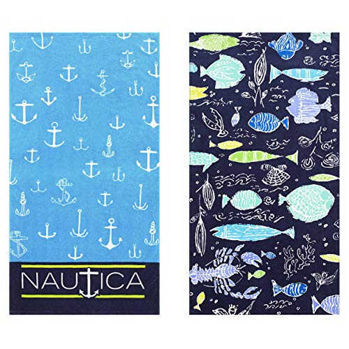 Bath Nautica Cotton Towel - Nautica Rainbow Fish/Captains Ship Beach Towel Set 35 x 66