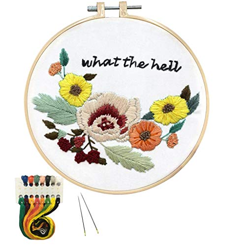 Louise Maelys Flower Embroidery Kit for Beginner Hand Embroidery Starter Kit with Sayings Stamped Cross Stitch Needlepoint Kits for Adults