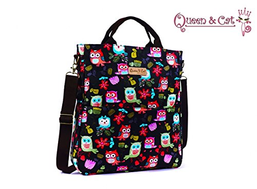Borsa a tracolla formato A4 impermeabile -Queen & Cat (OWL sfondo nero)