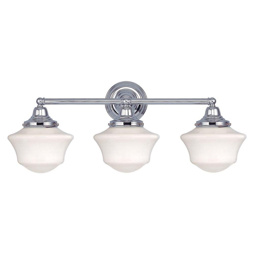schoolhouse bathroom light with three lights in chrome finish vanity lighting fixtures amazoncom