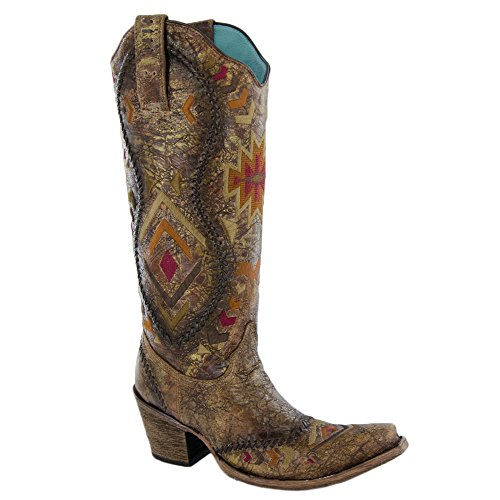 Corral Womens C2872 Westernlaars Cognac / Multicolor Etnisch Patroon & Zweepsteek