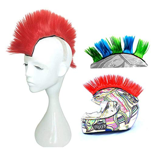 3T-SISTER Helmet Mohawk Wig Motorcycle Adhesive Mohawk Hair Patches Skinhead Costumes Wig-Red