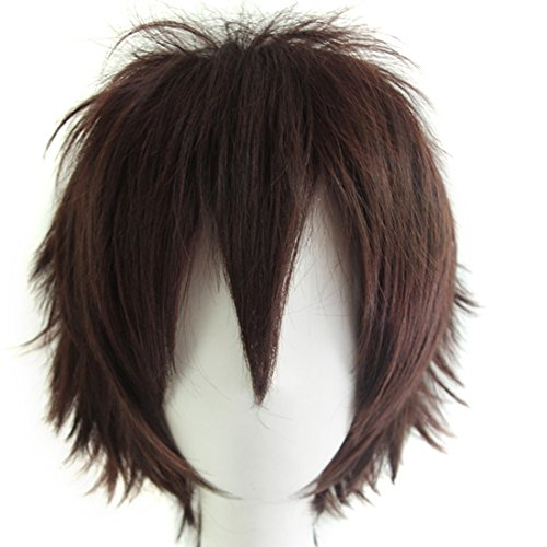 Alacos Unisex Cosplay Short Cut Straight Hair Wig Women Men Anime Party Dress up Wigs Reddish Brown Wig+ Free Wig Cap -