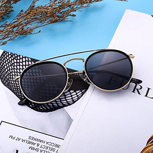 1457cdba31 Round Polarized Aviator Sunglasses Metal Frame Flat Circle lens Glasses Men  Women (Gold Alloy Black
