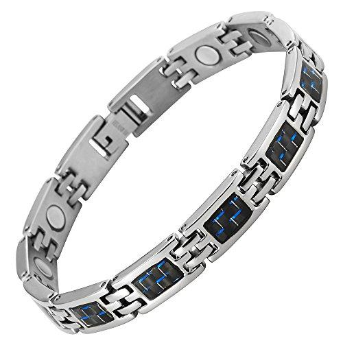 Willis Judd neue magnetische Damen-Armband aus Titan mit blauen Carbon-Einsätzen in schwarzen Samtgeschenkpackung + kostenlose Gerät für Gliedentfernung