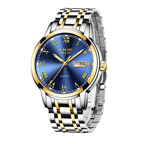LIGE Men's Watches Stainless Steel Sports Waterproof Analogue Quartz Business Classic Chronograph Wrist Watch Men