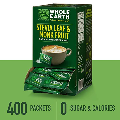 Whole Earth Sweetener Stevia Leaf & Monk Fruit Sweetener, Erythritol Sweetener, Sugar Substitute, Zero Calorie Sweetener, 400 Count Stevia Packets