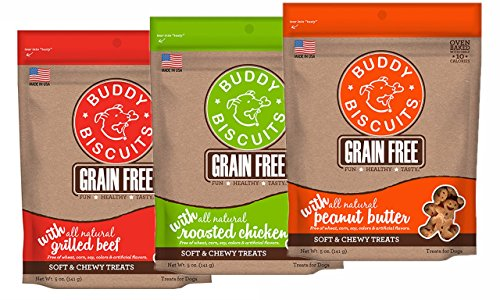 Beef 5 Ounce Bag (Buddy Biscuits Grain Free Soft & Chewy Training Treats 3 Flavor Variety Pack: (1) Peanut Butter, (1) Grilled Chicken & (1) Grilled Beef, 5 oz each (3 Bags Total))