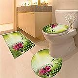 Spa Toilet Floor mat Set Stones and Bamboo Leaves on The Water Pool Meditation Freshness Relaxing Theme Non Slip Bath Shower Rug Apple Green Magenta