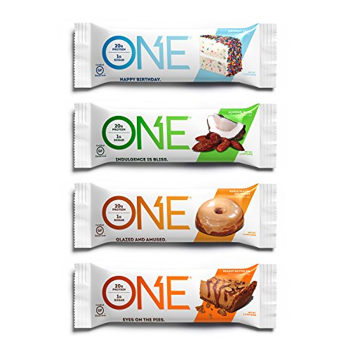 ONE Protein Bar, Best Sellers, 12-Pack, Gluten-Free, High Protein, Low Sugar, Includes Birthday Cake, Almond Bliss, Maple Glazed Doughnut, Peanut Butter Pie (Packaging May Vary) by ONE