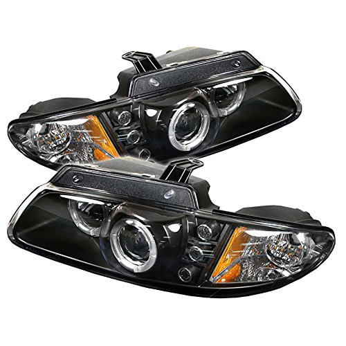VIPMOTOZ LED Halo Ring Projector Headlights For 1996-2000 Dodge Grand Caravan & Plymouth Voyager - Matte Black Housing, Driver and Passenger Side