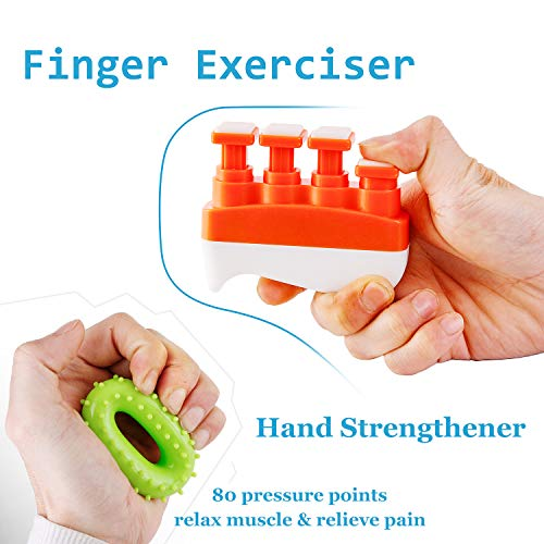 (Hesiry Finger Exerciser and Hand Strengthener Grip Ring kit (2 Pack) for Basketball/Baseball/Rock Climbing/Guitar/Piano Training - Hand and Finger Massage to Relieve Stiffness and Pain)