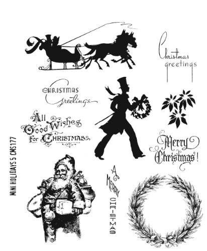 Stampers Anonymous No.5 Tim Holtz Cling Rubber Stamp Set, 7 by 8.5-Inch, Mini Holidays by Stampers Anonymous