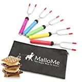 patio maker - MalloMe Premium Marshmallow Roasting Sticks Set of 5 Smores Skewers & Hot Dog Fork 34 Inch Rotating Extending Patio Fire Pit Camping Cookware Campfire Cooking Kids Accessories – Bonus Bag & Ebook