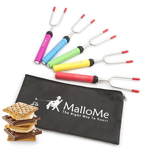MalloMe Premium Marshmallow Roasting Sticks Set of 5 Smores Skewers & Hot Dog Fork 34 Inch Rotating Extending Patio Fire Pit Camping Cookware Campfire Cooking Kids Accessories - Bonus Bag & Ebook -