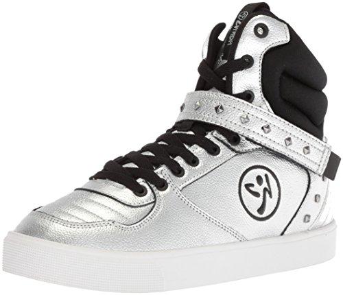 Zumba Women's Street Fashion High Top Dance Workout Shoes Sneaker Silver