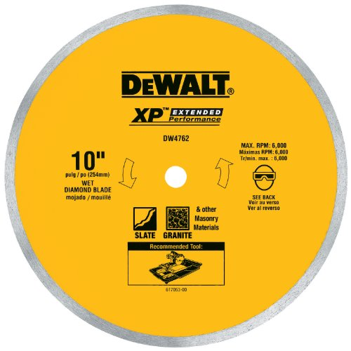 DEWALT DW4762 10-Inch Wet Cutting Continuous Rim Saw Blade with 5/8-Inch Arbor for Porcelain or Tile - Dewalt Saw Blades 10 Inch