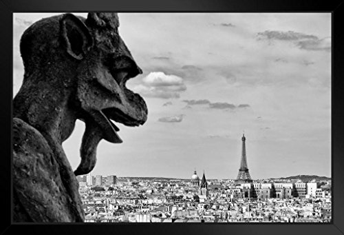 Notre Dame Cathedral Pictures - Gargoyle Notre Dame Cathedral Paris France Black and White Photo Art Print Framed Poster 20x14 inch