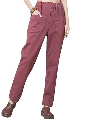 Youlee Mujer Cintura elástica Pantalón de pierna ancha con bolsillos
