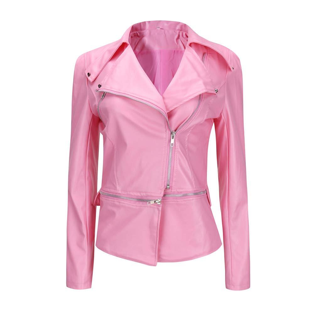 iDWZA Fashion Winter Warm Women Short Coat Leather Jacket Parka Zipper Tops Overcoat Outwear(Pink,US XS/CN S)