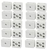 uxcell 250V 10A 2 Position 5 Hole Ceramic Terminal Blocks Wire Connectors 20pcs