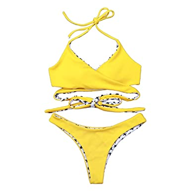 Mymyguoe Mujeres Bikini de Traje de baño de Playa Dividida Conjunto de Bikini Bañador Ropa de baño Tanga Sujetador Bragas Bikini Push Up: Amazon.es: Ropa y ...