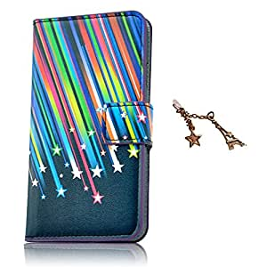 Uming® Flower Pattern Print PU case Fancy Colorful Printing Drawing Patterns Flip Holster with Stand Stander Holder Hand Free Credit Card Slot Hole Hasp Magnet Magnetic Button Buckle Shell Protective Mobile Cell Phone Case Cover Bag + 1 x Anti Dust Plug ( Meteor Star - for Samsung Galaxy S4 I9500 I9505 )