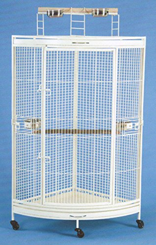 "Medium Corner Cage - NEW Corner Open Playtop Parrot Bird Cage - 36"" X 25"" X 61""H - 4 Colors Available (Egg Shell White)"