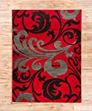 "Melanie Floral Red & Grey Modern Geometric Comfy Casual Fleur-de-Lis Hand Carved Area Rug 5x7 ( 5'3"" x 7'3"" ) Easy to Clean Stain Fade Resistant Contemporary Thick Soft Plush Living Dining Room Rug"