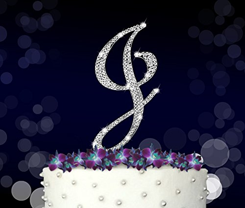 Letter J, Initials, Happy Birthday Cake Topper, Wedding, Anniversary, Vow Renewal, Crystal Rhinestones on Silver Metal, Party Decorations, Favors