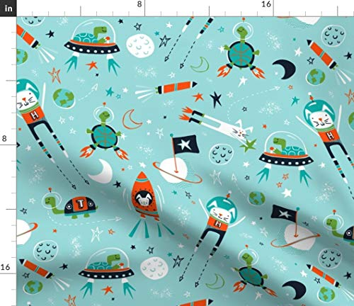 Spoonflower Aesop Space Fabric - Race Aqua Rocket Tortoise and The Hare Outer Bunny Turtle Stars Whimsical Print on Fabric by The Yard - Denim for Sewing Bottomweight Apparel Home Decor Upholstery