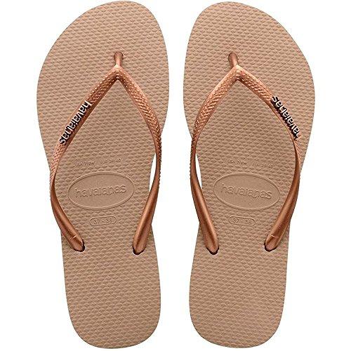 Havaianas Women's Slim Logo Metallic Flip Flops Rose Gold/Dark Copper 37-38 M - Havaianas Brown