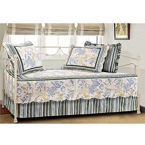 Coral Coastal Quilted Reversible Daybed Set in Blue